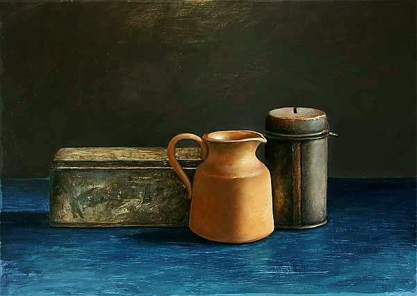 Painting: Blue still life with coin tin