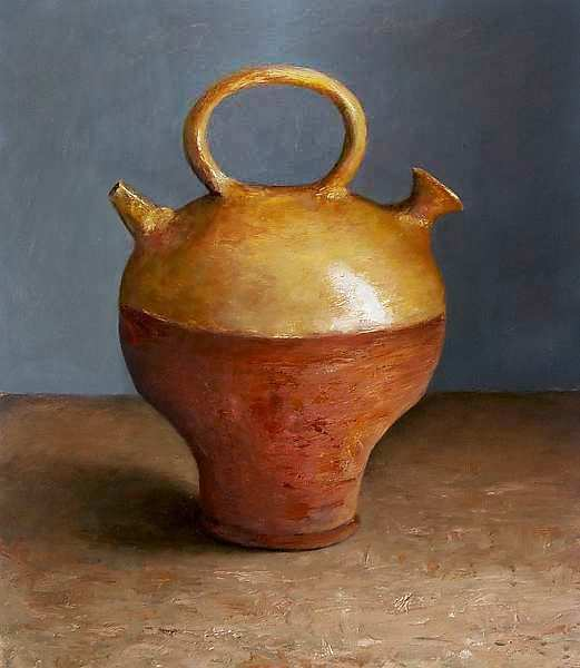 Painting: Still life with lamp from the antique age