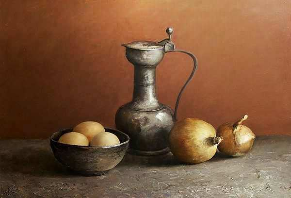 Painting: Classic still life with tin can