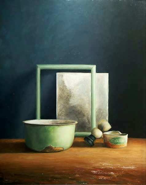 Painting: Still life with razing mirror