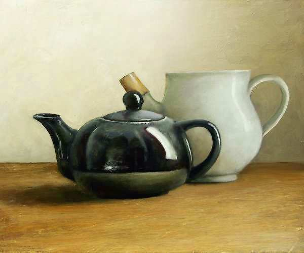 Painting: Still life with white and black thee-jug